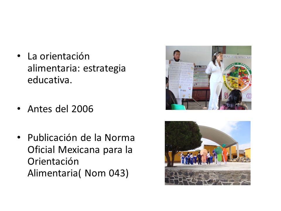 La orientación alimentaria: estrategia educativa. Antes del 2006 Publicación de la Norma Oficial Mexicana para la Orientación Alimentaria( Nom 043)