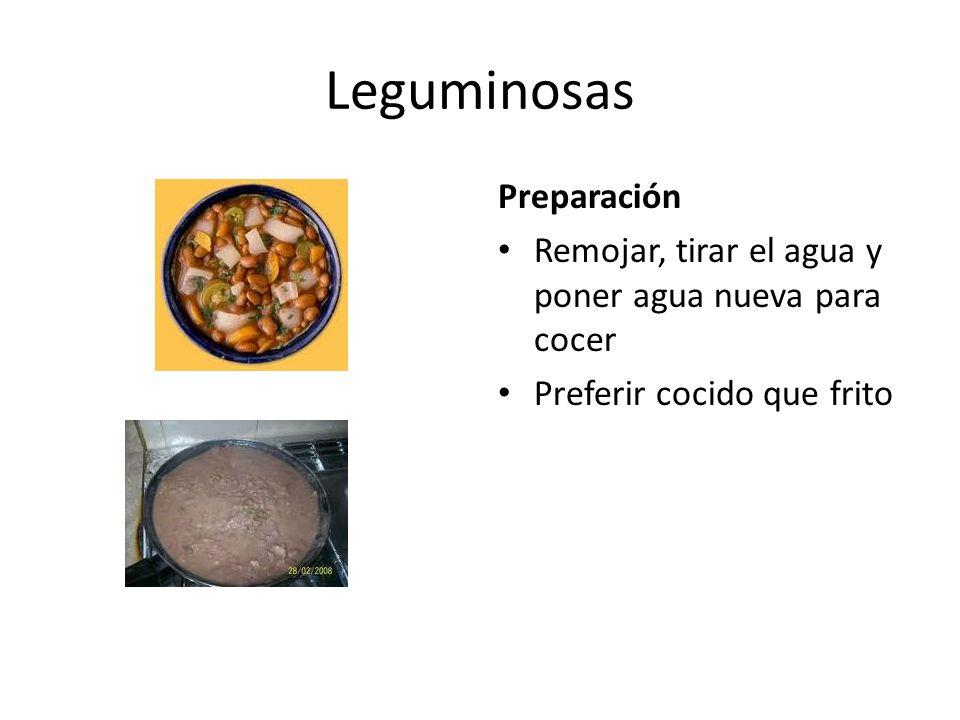 Leguminosas Preparación Remojar, tirar el agua y poner agua nueva para cocer Preferir cocido que frito