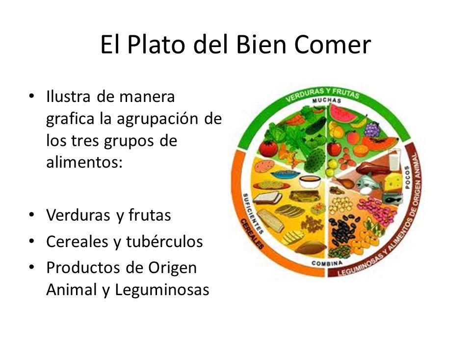 El Plato del Bien Comer Ilustra de manera grafica la agrupación de los tres grupos de alimentos: Verduras y frutas Cereales y tubérculos Productos de
