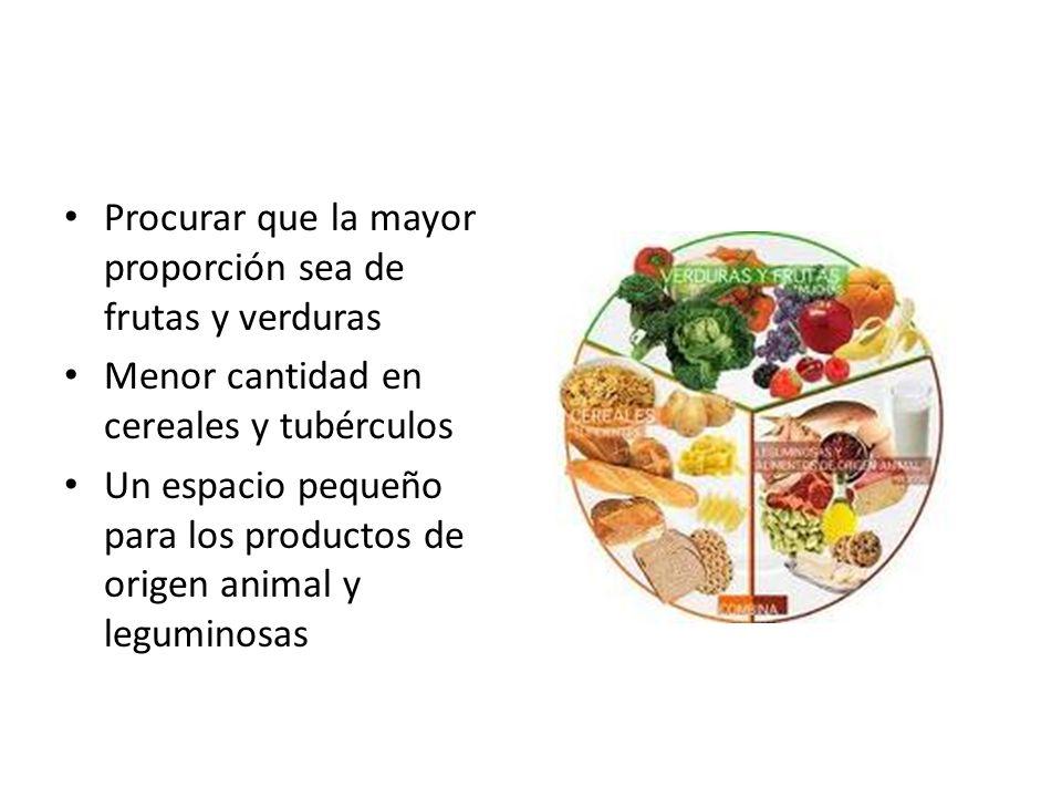Procurar que la mayor proporción sea de frutas y verduras Menor cantidad en cereales y tubérculos Un espacio pequeño para los productos de origen anim