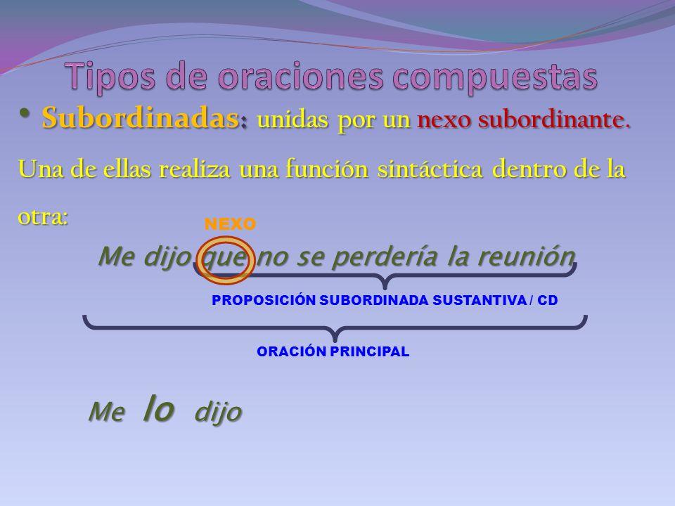 Subordinadas : unidas por un nexo subordinante. Subordinadas : unidas por un nexo subordinante. Una de ellas realiza una función sintáctica dentro de