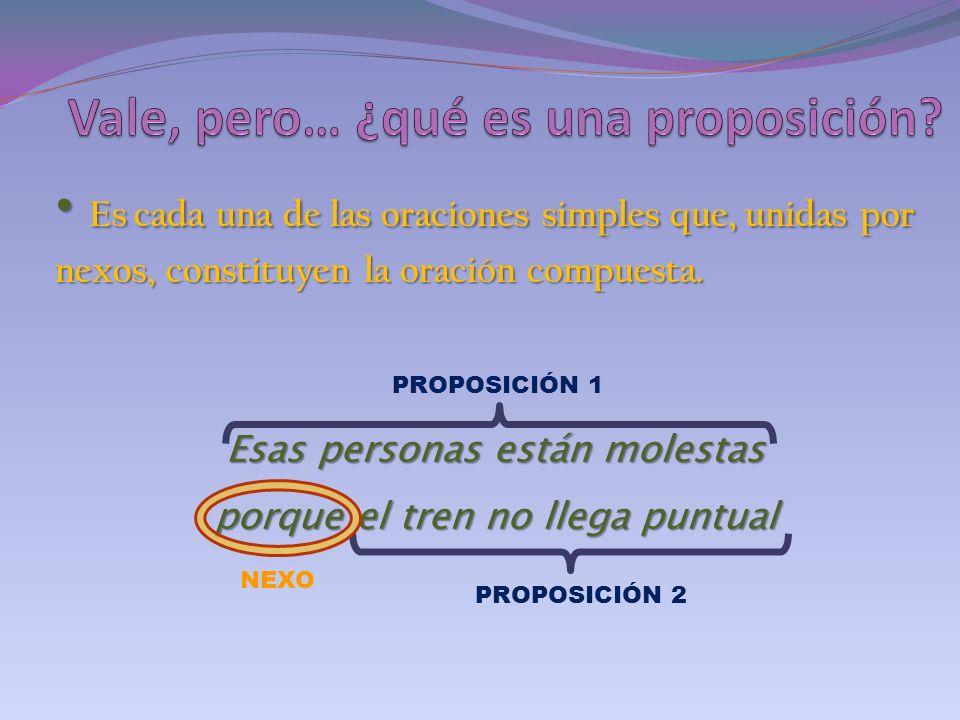 Yuxtapuestas : son aquellas cuyas proposiciones no están unidas por ningún nexo, sino simplemente colocadas una al lado de la otra.