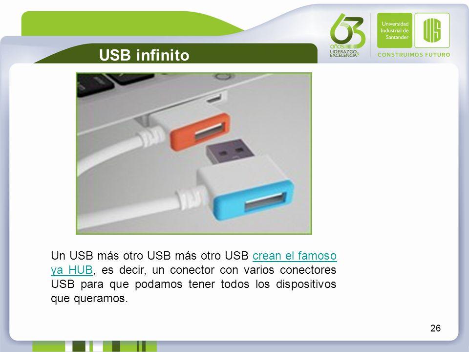 26 USB infinito Un USB más otro USB más otro USB crean el famoso ya HUB, es decir, un conector con varios conectores USB para que podamos tener todos