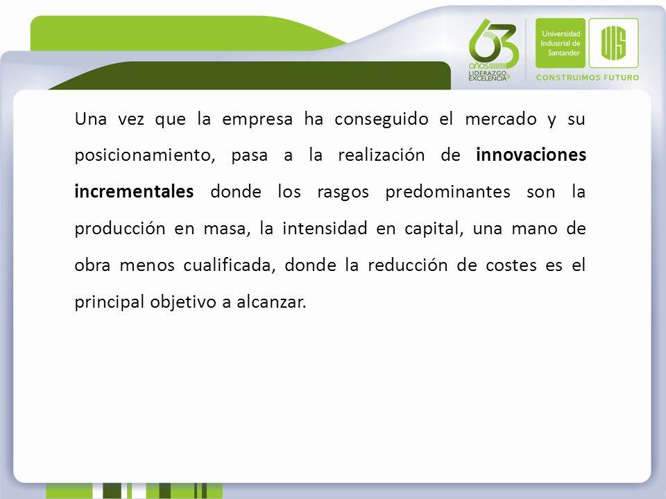 Una vez que la empresa ha conseguido el mercado y su posicionamiento, pasa a la realización de innovaciones incrementales donde los rasgos predominant