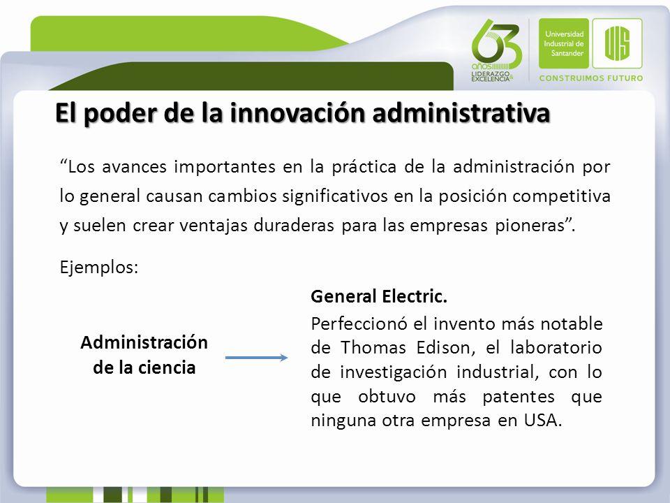 El poder de la innovación administrativa Los avances importantes en la práctica de la administración por lo general causan cambios significativos en l