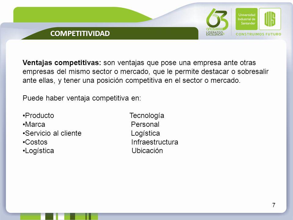 7 Ventajas competitivas: son ventajas que pose una empresa ante otras empresas del mismo sector o mercado, que le permite destacar o sobresalir ante e