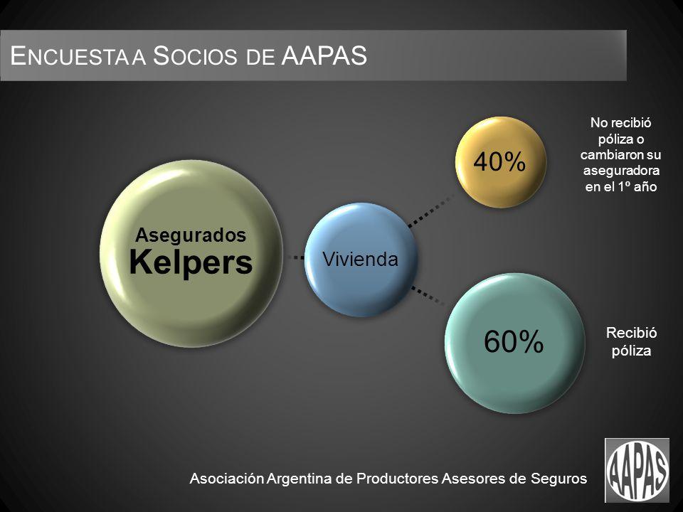 No recibió póliza o cambiaron su aseguradora en el 1º año Recibió póliza Asociación Argentina de Productores Asesores de Seguros E NCUESTA A S OCIOS DE AAPAS