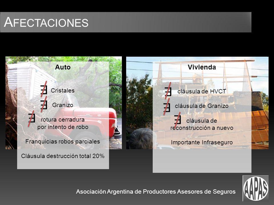 A FECTACIONES Asociación Argentina de Productores Asesores de Seguros Auto Cristales Granizo rotura cerradura por intento de robo Franquicias robos pa