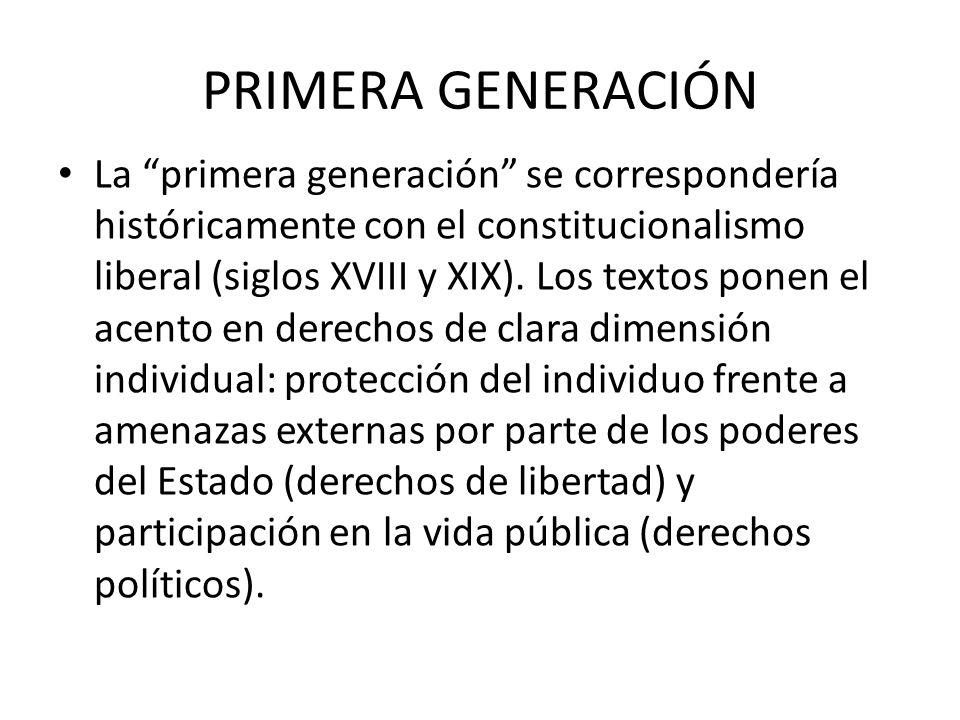 PRIMERA GENERACIÓN La primera generación se correspondería históricamente con el constitucionalismo liberal (siglos XVIII y XIX).
