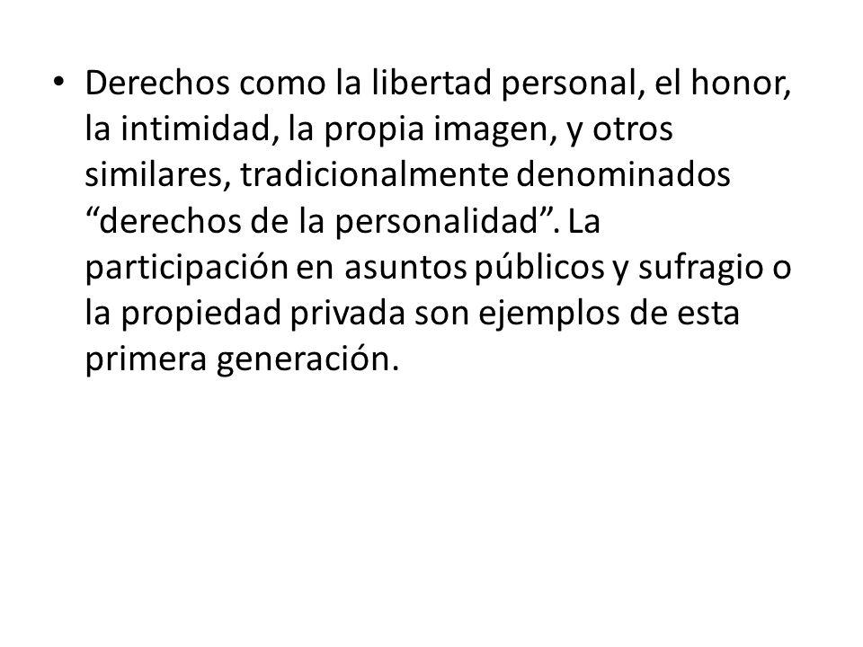 Derechos como la libertad personal, el honor, la intimidad, la propia imagen, y otros similares, tradicionalmente denominados derechos de la personalidad.