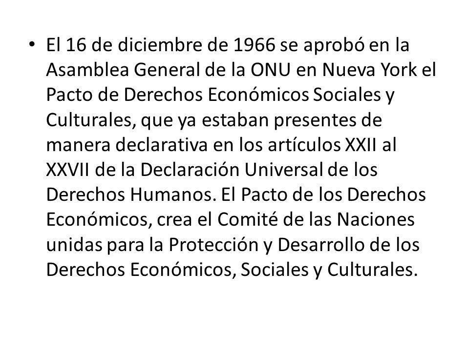 El 16 de diciembre de 1966 se aprobó en la Asamblea General de la ONU en Nueva York el Pacto de Derechos Económicos Sociales y Culturales, que ya estaban presentes de manera declarativa en los artículos XXII al XXVII de la Declaración Universal de los Derechos Humanos.