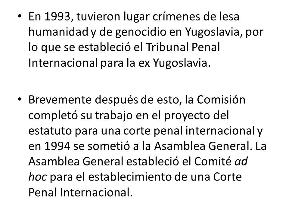 En 1993, tuvieron lugar crímenes de lesa humanidad y de genocidio en Yugoslavia, por lo que se estableció el Tribunal Penal Internacional para la ex Yugoslavia.