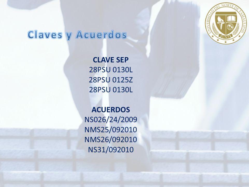 CLAVE SEP 28PSU 0130L 28PSU 0125Z 28PSU 0130L ACUERDOS NS026/24/2009 NMS25/092010 NMS26/092010 NS31/092010