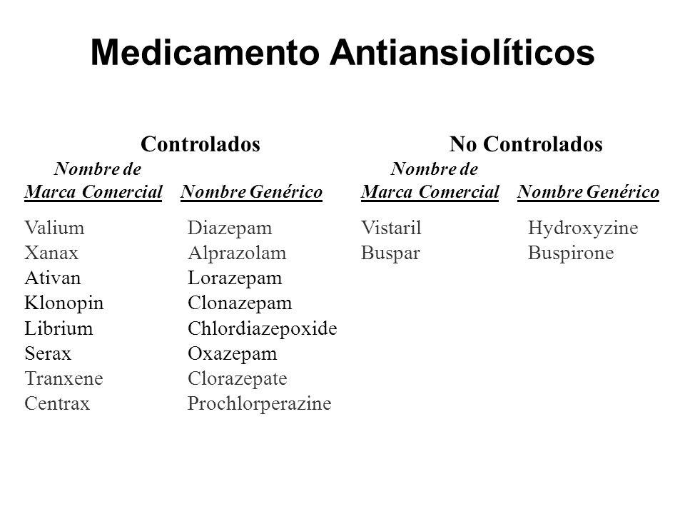 Medicamento Antiansiolíticos Controlados Nombre de Marca ComercialNombre Genérico ValiumDiazepam XanaxAlprazolam AtivanLorazepam KlonopinClonazepam Li