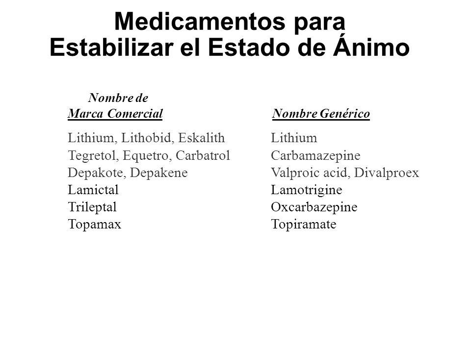 Medicamentos para Estabilizar el Estado de Ánimo Nombre de Marca ComercialNombre Genérico Lithium, Lithobid, EskalithLithium Tegretol, Equetro, Carbat