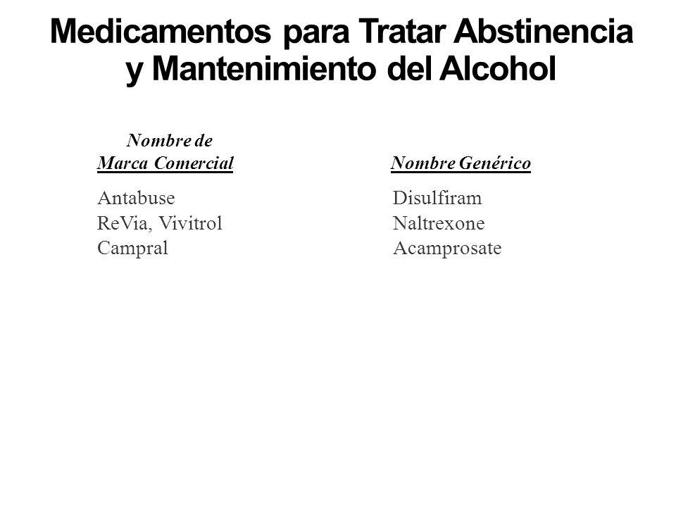 Medicamentos para Tratar Abstinencia y Mantenimiento del Alcohol Nombre de Marca ComercialNombre Genérico AntabuseDisulfiram ReVia, VivitrolNaltrexone