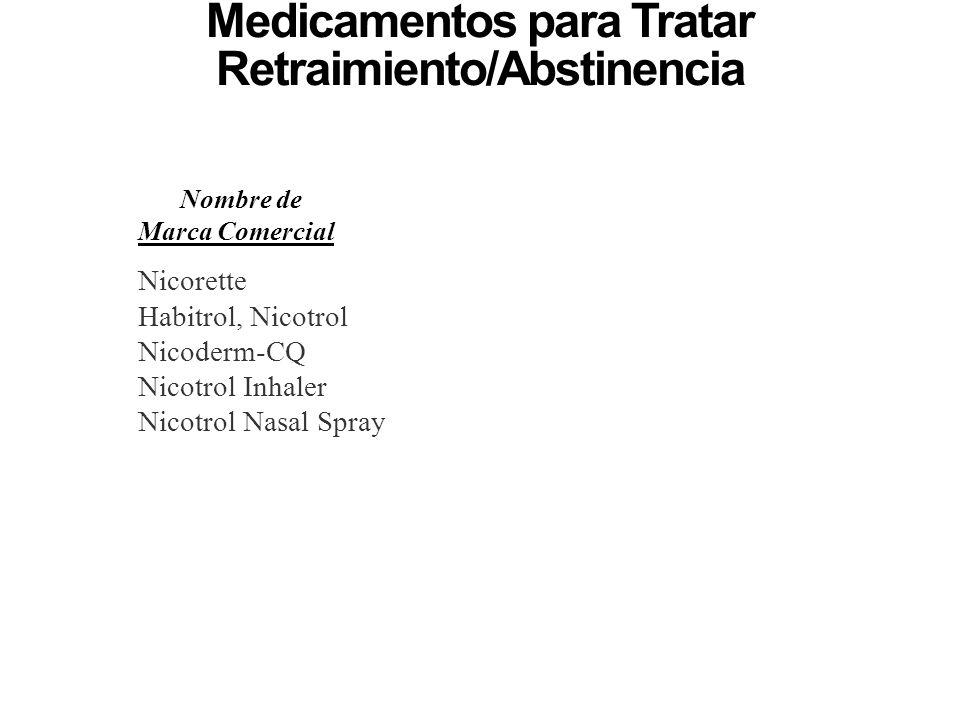 Medicamentos para Tratar Retraimiento/Abstinencia y Antojos de Nicotina Nombre de Marca Comercial Nicorette Habitrol, Nicotrol Nicoderm-CQ Nicotrol In