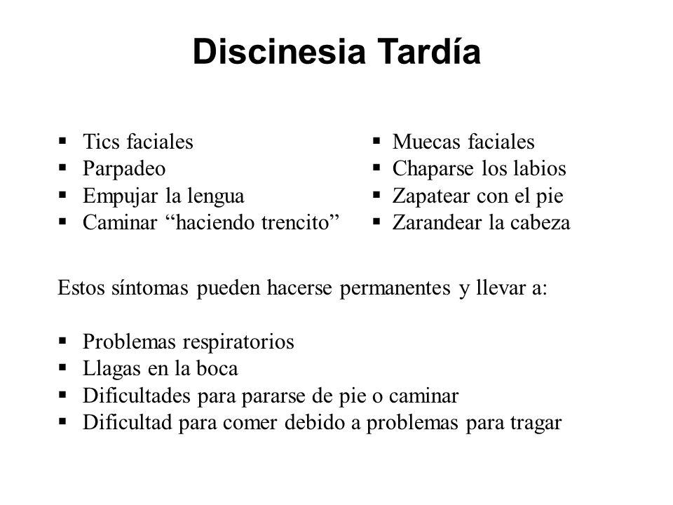 Discinesia Tardía Tics faciales Parpadeo Empujar la lengua Caminar haciendo trencito Muecas faciales Chaparse los labios Zapatear con el pie Zarandear