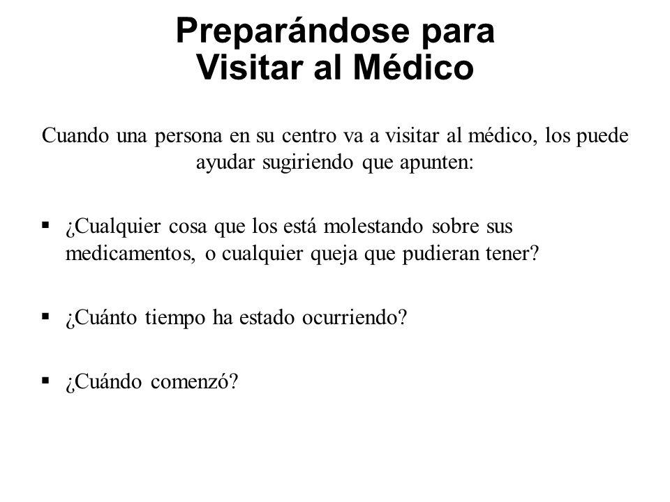 Preparándose para Visitar al Médico Cuando una persona en su centro va a visitar al médico, los puede ayudar sugiriendo que apunten: ¿Cualquier cosa q