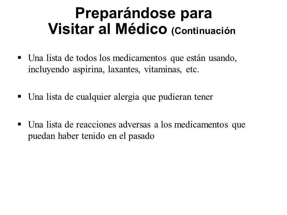 Preparándose para Visitar al Médico (Continuación) Una lista de todos los medicamentos que están usando, incluyendo aspirina, laxantes, vitaminas, etc