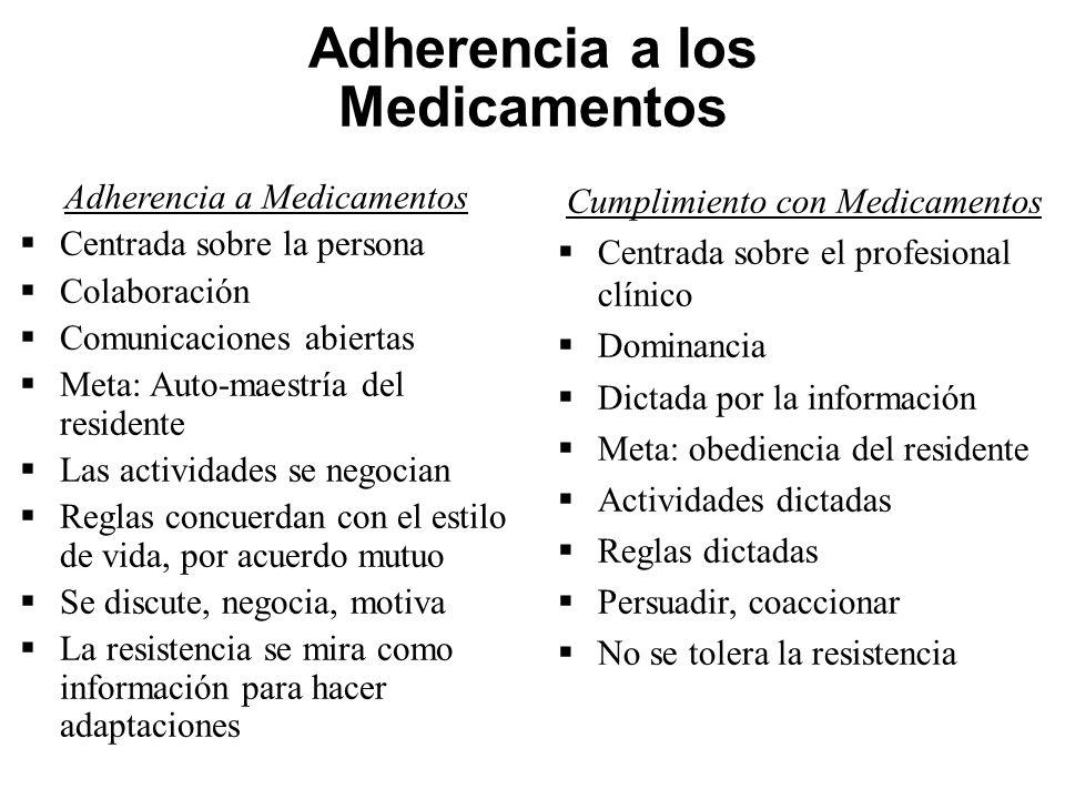 Adherencia a los Medicamentos Adherencia a Medicamentos Centrada sobre la persona Colaboración Comunicaciones abiertas Meta: Auto-maestría del residen