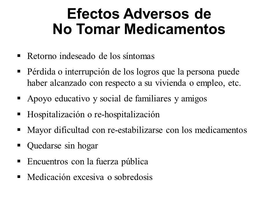 Efectos Adversos de No Tomar Medicamentos Retorno indeseado de los síntomas Pérdida o interrupción de los logros que la persona puede haber alcanzado