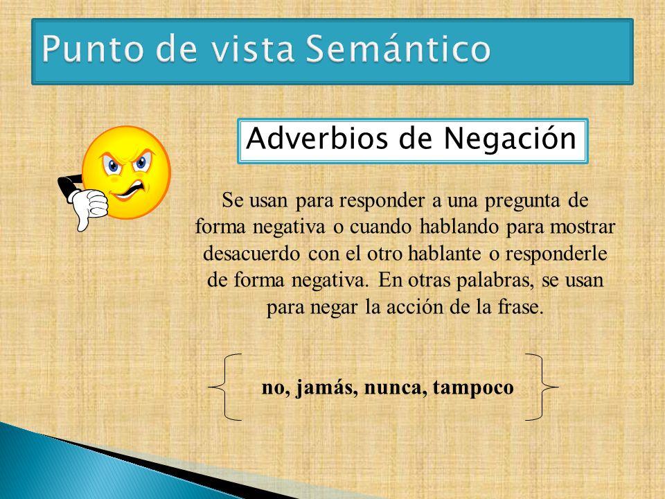 Adverbios de Negación Se usan para responder a una pregunta de forma negativa o cuando hablando para mostrar desacuerdo con el otro hablante o respond