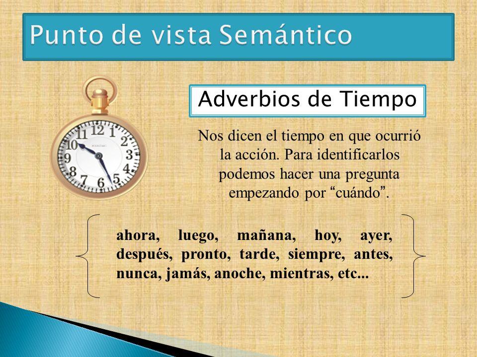 Adverbios de Tiempo ahora, luego, mañana, hoy, ayer, después, pronto, tarde, siempre, antes, nunca, jamás, anoche, mientras, etc... Nos dicen el tiemp