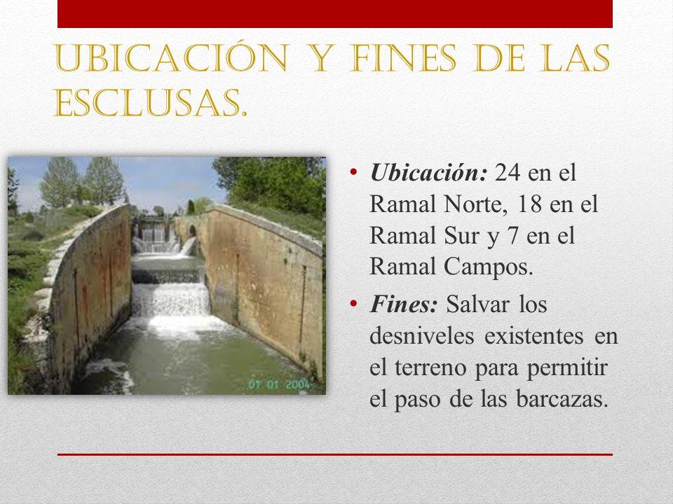 Ubicación y Fines de las esclusas. Ubicación: 24 en el Ramal Norte, 18 en el Ramal Sur y 7 en el Ramal Campos. Fines: Salvar los desniveles existentes