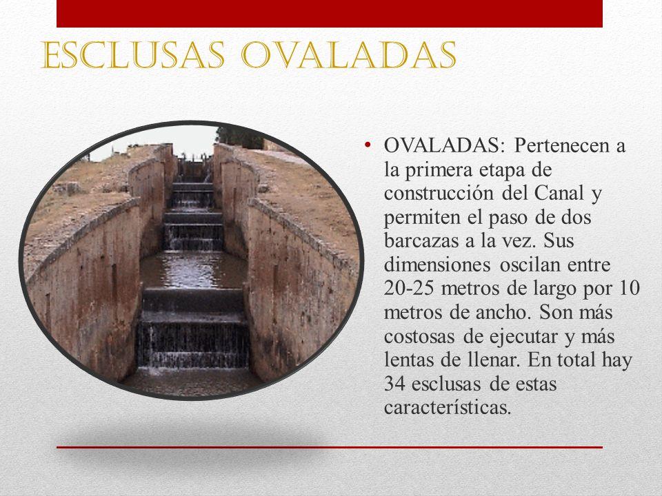 Esclusas ovaladas OVALADAS: Pertenecen a la primera etapa de construcción del Canal y permiten el paso de dos barcazas a la vez. Sus dimensiones oscil