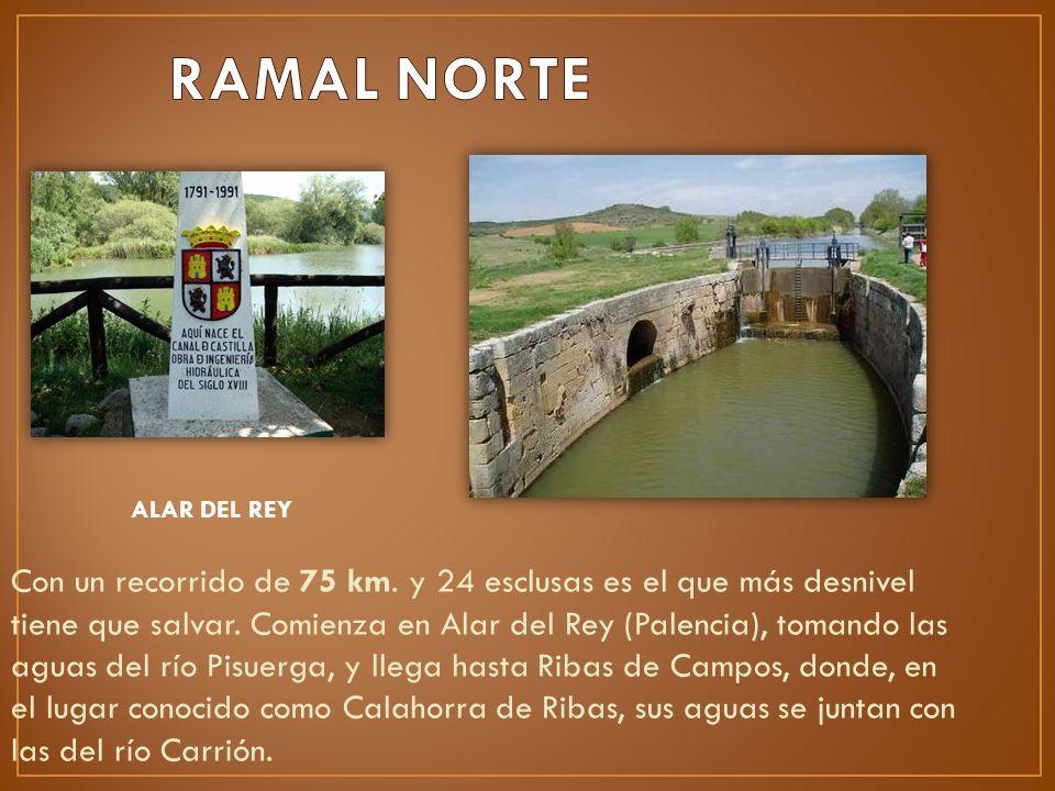 Con un recorrido de 75 km. y 24 esclusas es el que más desnivel tiene que salvar. Comienza en Alar del Rey (Palencia), tomando las aguas del río Pisue