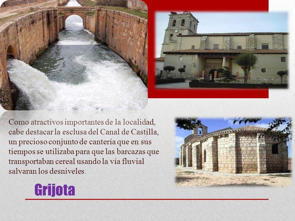 Grijota Como atractivos importantes de la localidad, cabe destacar la esclusa del Canal de Castilla, un precioso conjunto de cantería que en sus tiemp