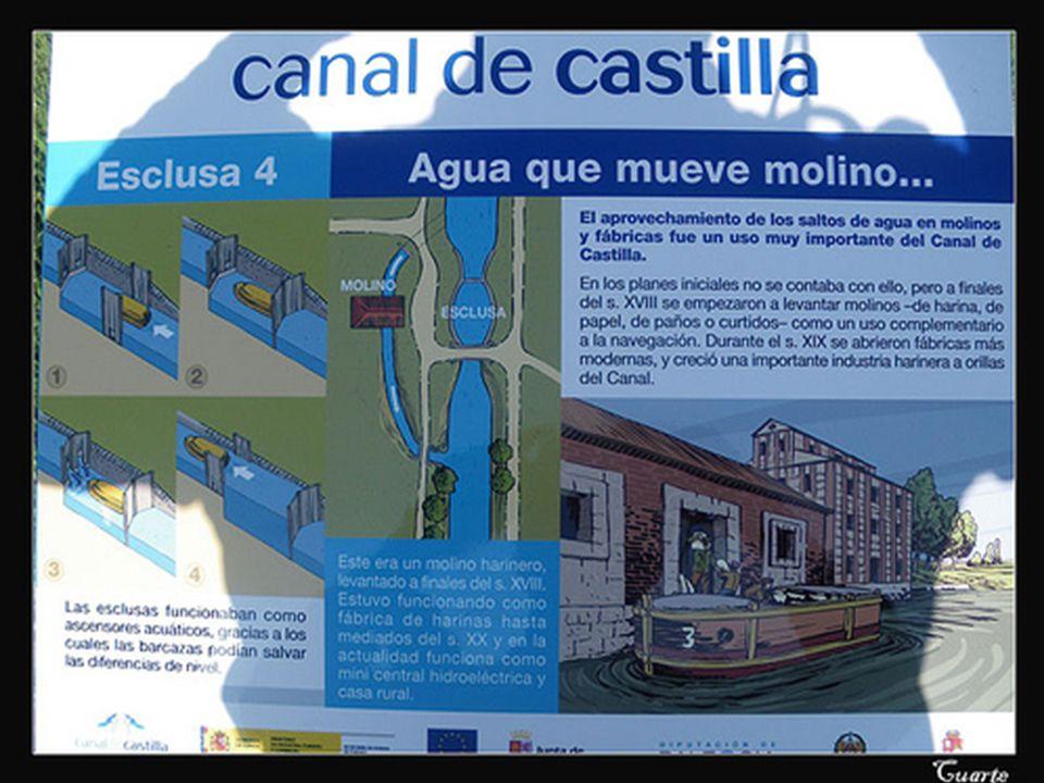 Grijota Como atractivos importantes de la localidad, cabe destacar la esclusa del Canal de Castilla, un precioso conjunto de cantería que en sus tiempos se utilizaba para que las barcazas que transportaban cereal usando la vía fluvial salvaran los desniveles.