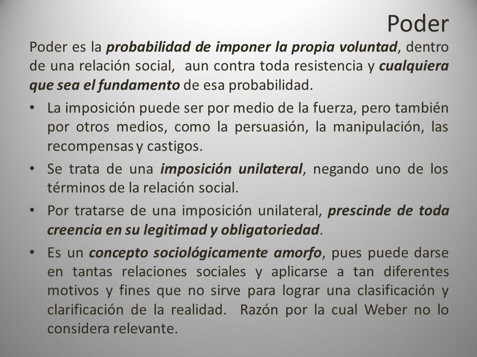 Poder Poder es la probabilidad de imponer la propia voluntad, dentro de una relación social, aun contra toda resistencia y cualquiera que sea el funda