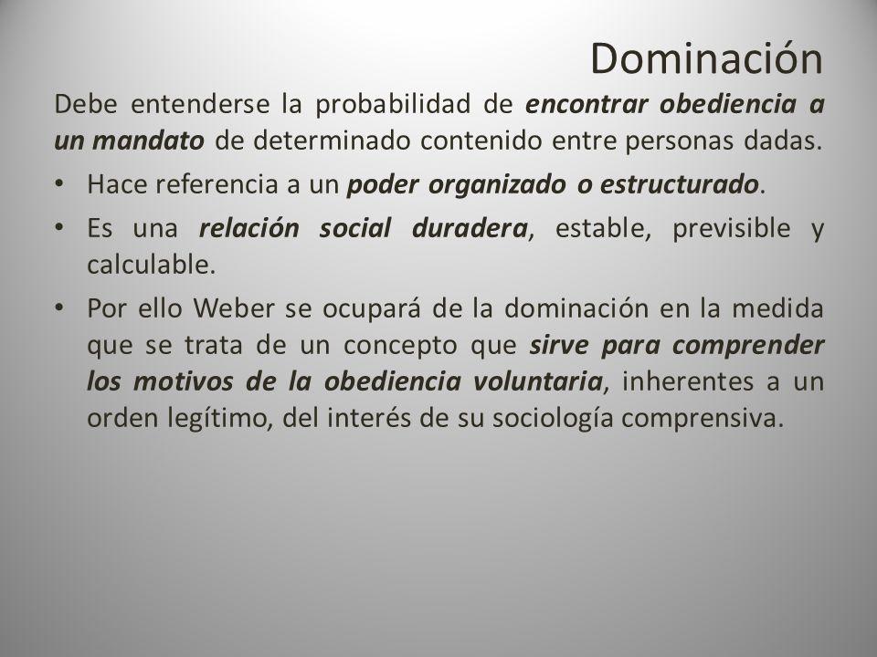 Dominación Debe entenderse la probabilidad de encontrar obediencia a un mandato de determinado contenido entre personas dadas. Hace referencia a un po