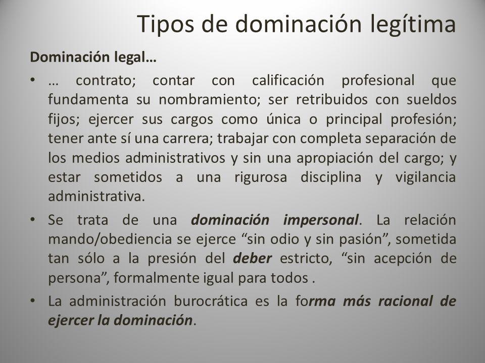 Tipos de dominación legítima Dominación legal… … contrato; contar con calificación profesional que fundamenta su nombramiento; ser retribuidos con sue