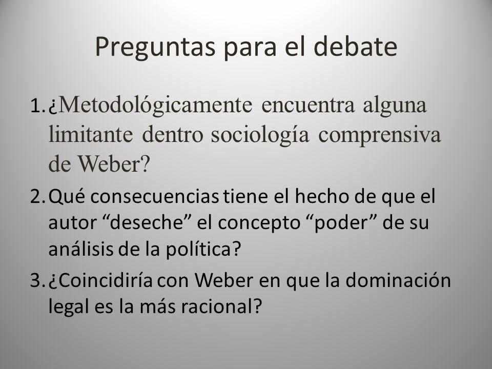 Preguntas para el debate 1.¿ Metodológicamente encuentra alguna limitante dentro sociología comprensiva de Weber? 2.Qué consecuencias tiene el hecho d