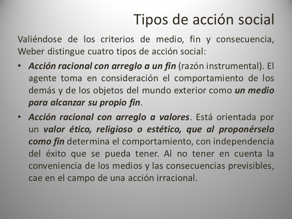 Tipos de acción social Valiéndose de los criterios de medio, fin y consecuencia, Weber distingue cuatro tipos de acción social: Acción racional con ar