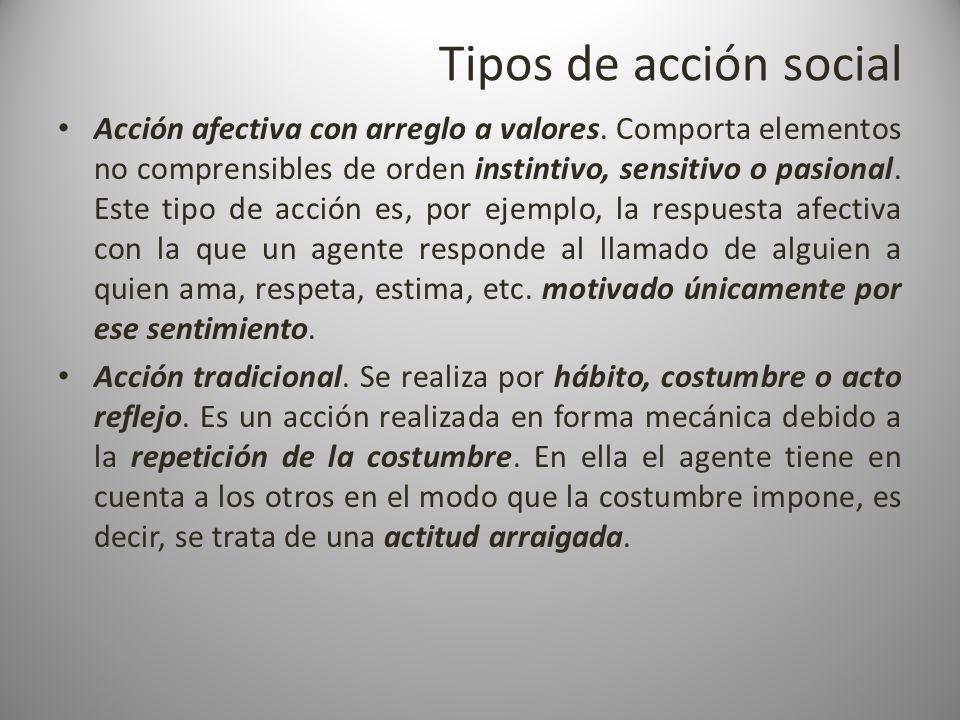 Tipos de acción social Acción afectiva con arreglo a valores. Comporta elementos no comprensibles de orden instintivo, sensitivo o pasional. Este tipo