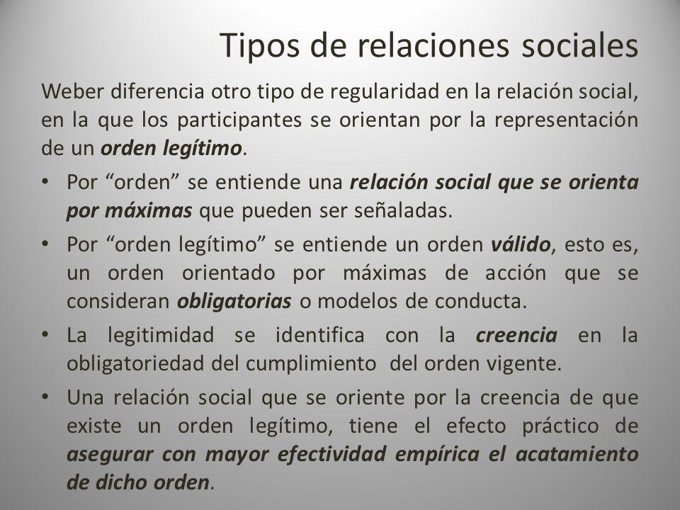 Tipos de relaciones sociales Weber diferencia otro tipo de regularidad en la relación social, en la que los participantes se orientan por la represent