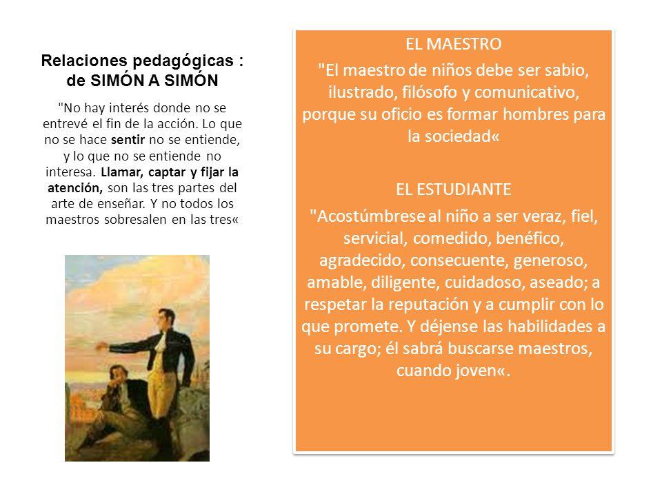 Relaciones pedagógicas : de SIMÓN A SIMÓN EL MAESTRO
