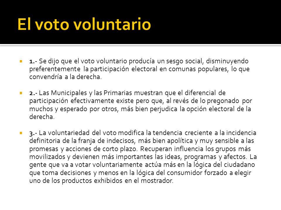 1.- Se dijo que el voto voluntario producía un sesgo social, disminuyendo preferentemente la participación electoral en comunas populares, lo que convendría a la derecha.