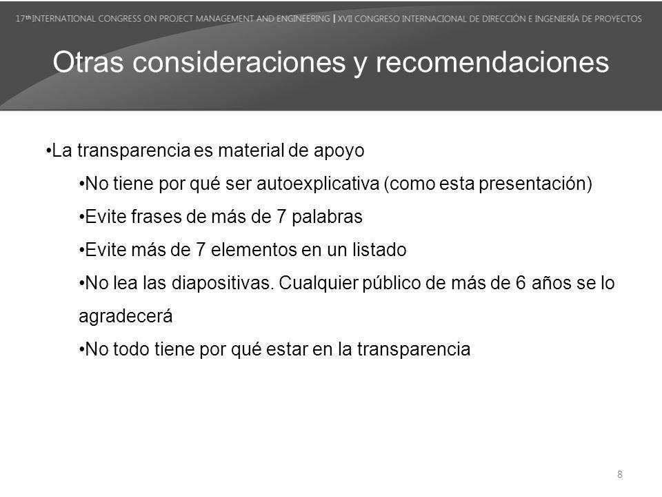 Otras consideraciones y recomendaciones La transparencia es material de apoyo No tiene por qué ser autoexplicativa (como esta presentación) Evite fras