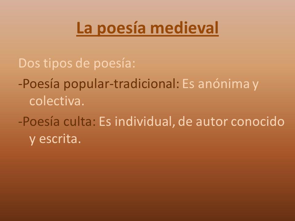 La poesía medieval Dos tipos de poesía: -Poesía popular-tradicional: Es anónima y colectiva. -Poesía culta: Es individual, de autor conocido y escrita
