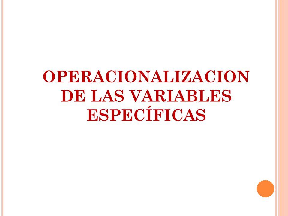 OPERACIONALIZACION DE LAS VARIABLES ESPECÍFICAS