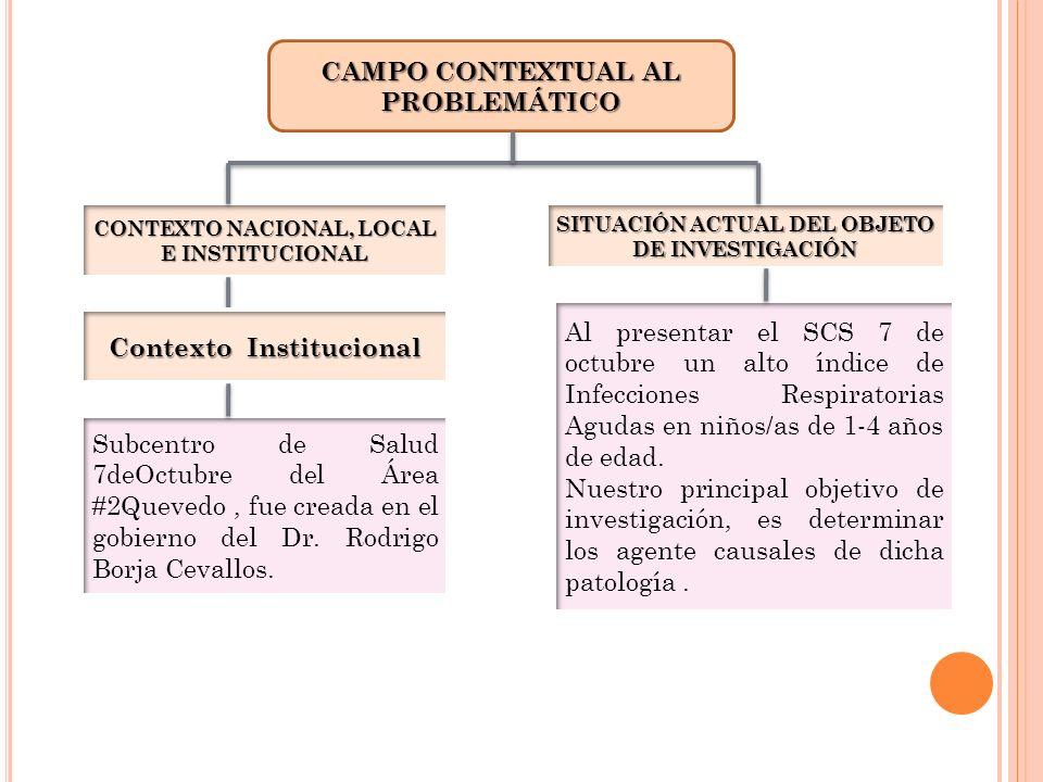 CAMPO CONTEXTUAL AL PROBLEMÁTICO CONTEXTO NACIONAL, LOCAL E INSTITUCIONAL SITUACIÓN ACTUAL DEL OBJETO DE INVESTIGACIÓN Contexto Institucional Subcentr