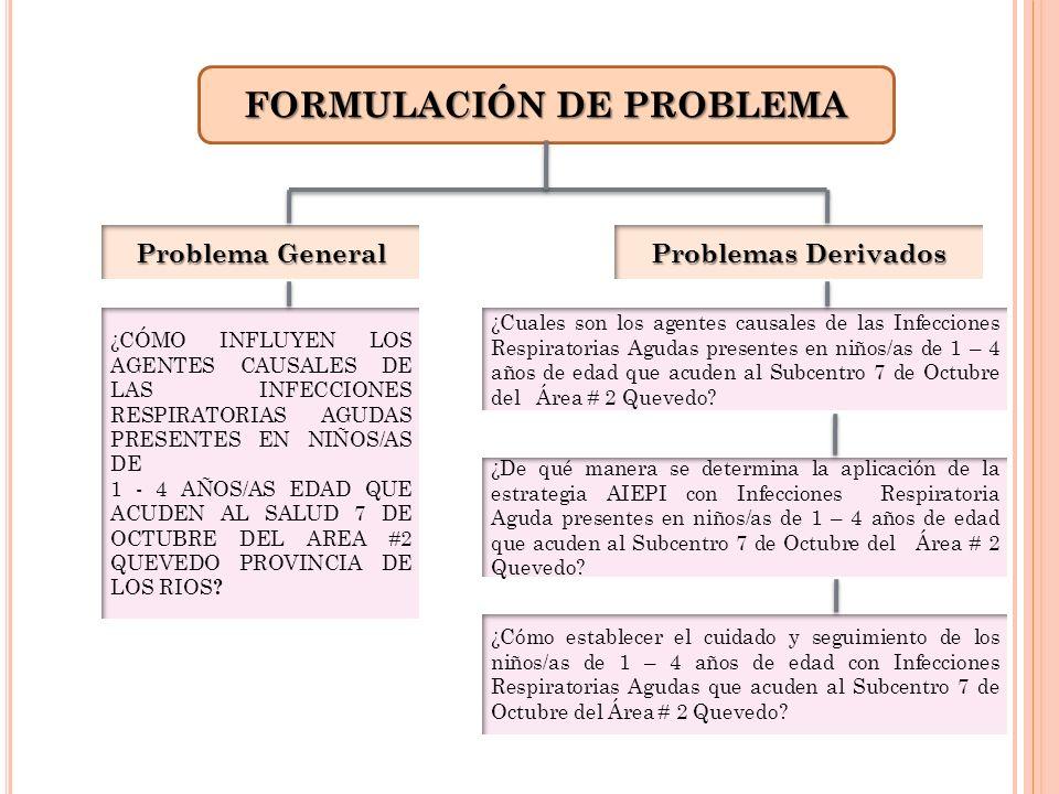 FORMULACIÓN DE PROBLEMA Problema General Problemas Derivados ¿CÓMO INFLUYEN LOS AGENTES CAUSALES DE LAS INFECCIONES RESPIRATORIAS AGUDAS PRESENTES EN