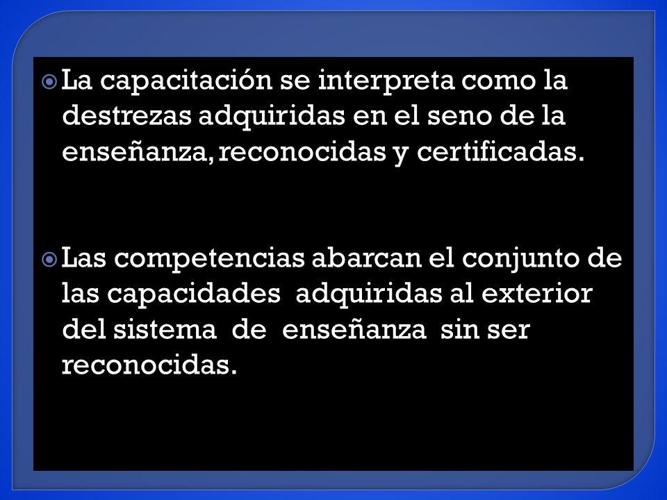 La capacitación se interpreta como la destrezas adquiridas en el seno de la enseñanza, reconocidas y certificadas.
