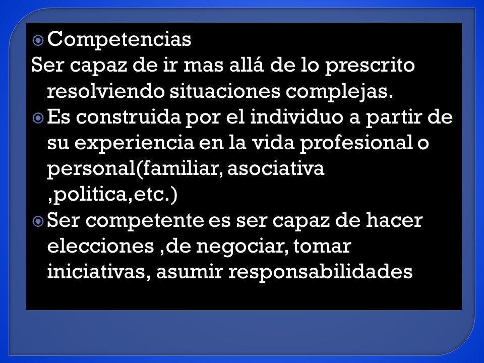 Competencias Ser capaz de ir mas allá de lo prescrito resolviendo situaciones complejas.