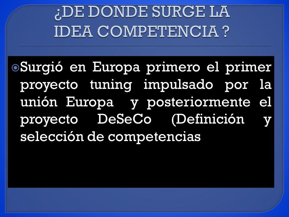 Surgió en Europa primero el primer proyecto tuning impulsado por la unión Europa y posteriormente el proyecto DeSeCo (Definición y selección de competencias